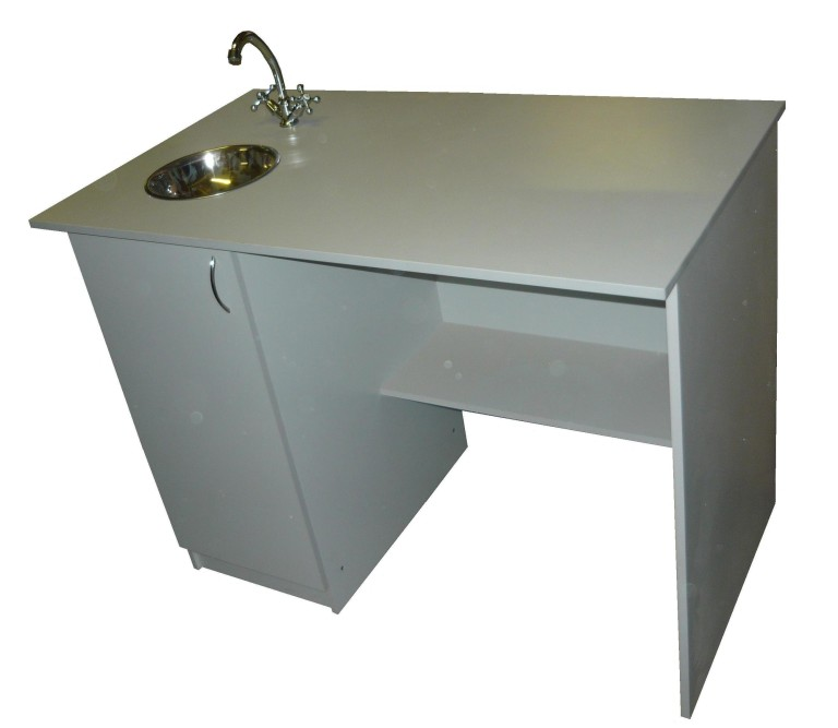 Стол для учителя с тумбой и мойкой для кабинета химии 1400*700*760 (пластик)