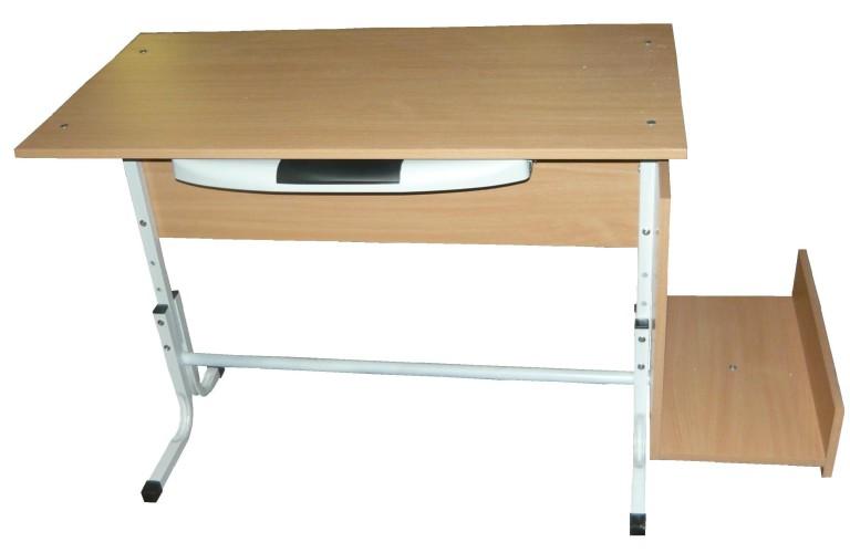 Стол компьютерный 1-местный на регулируемом металлокаркасе с выносным коробом под блок и подставкой под ноги 1000*550