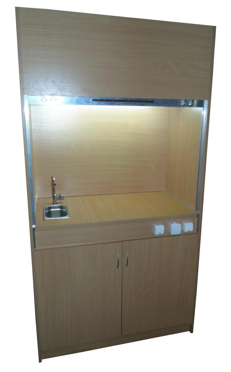 Шкаф вытяжной для кабинета химии (с подсветкой и мойкой)