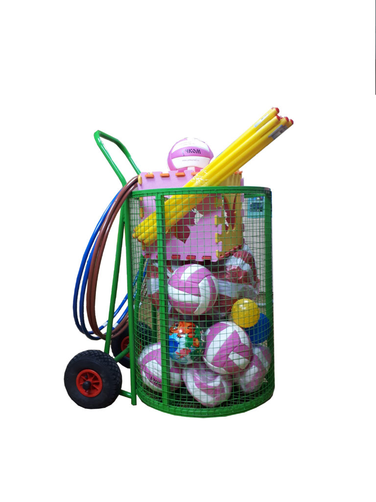 Тележка для игрушек и спортинвентаря на колесах